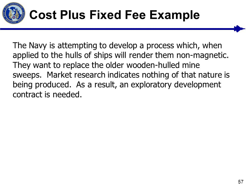 Cost Plus Fixed Fee Example