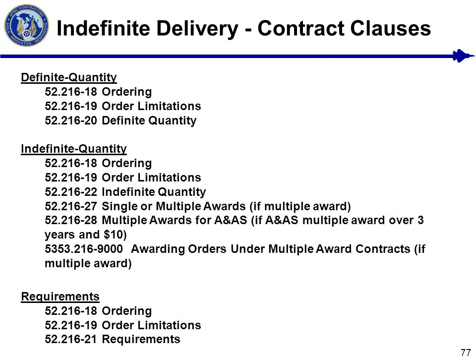 Indefinite Delivery - Contract Clauses