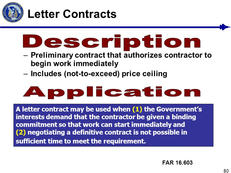 Letter Contracts Description Application