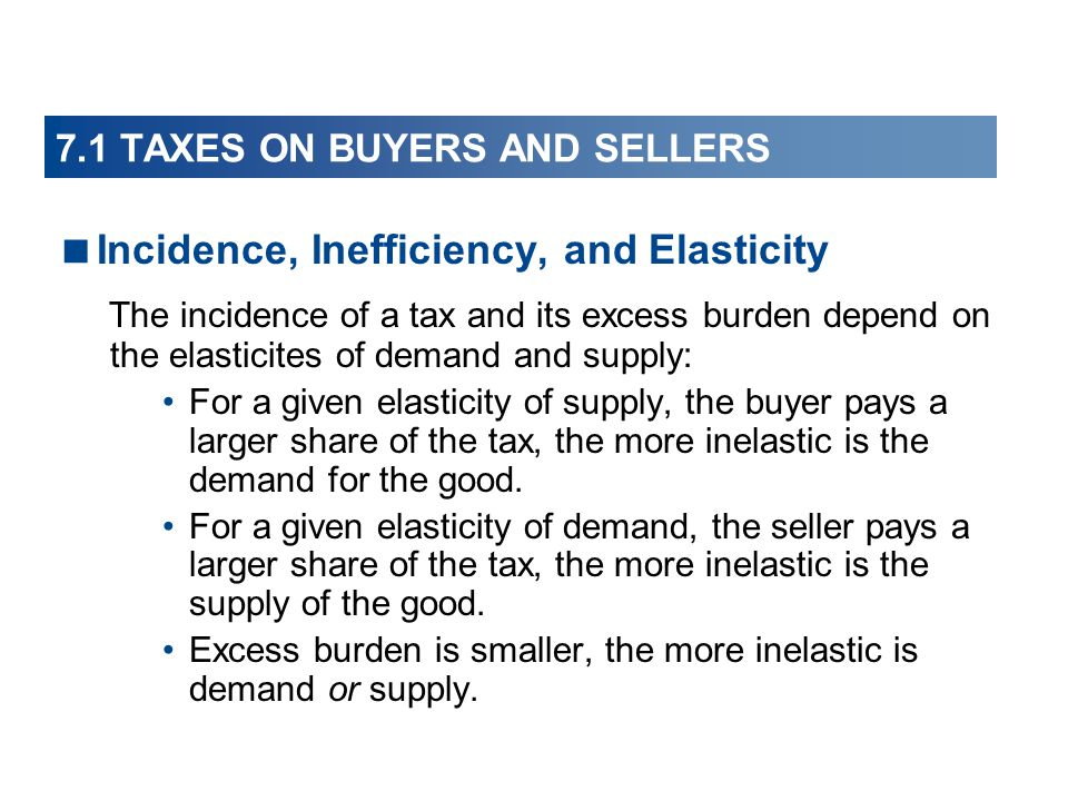 7.1 TAXES ON BUYERS AND SELLERS