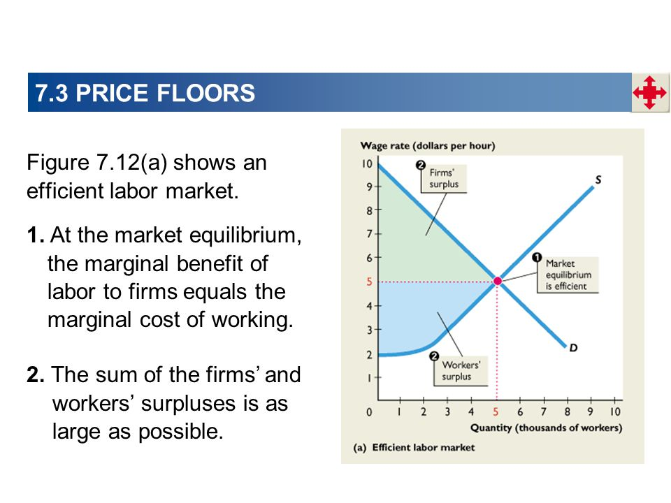 7.3 PRICE FLOORS Figure 7.12(a) shows an efficient labor market.