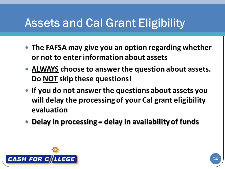 Assets and Cal Grant Eligibility