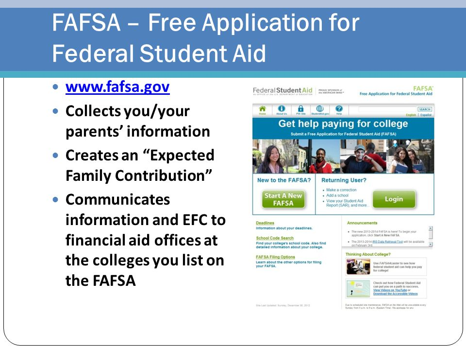 FAFSA – Free Application for Federal Student Aid
