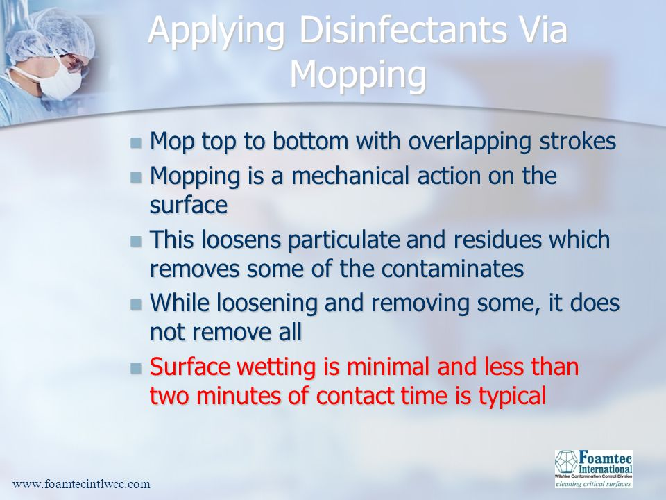 Applying Disinfectants Via Mopping