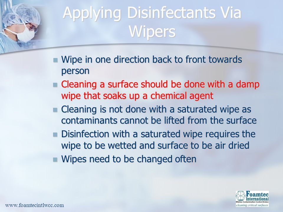 Applying Disinfectants Via Wipers