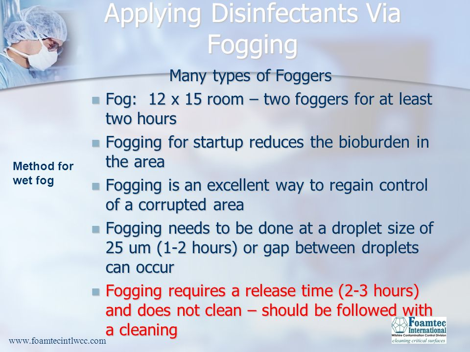 Applying Disinfectants Via Fogging