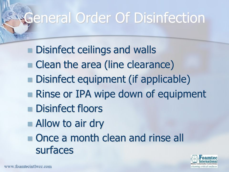 General Order Of Disinfection