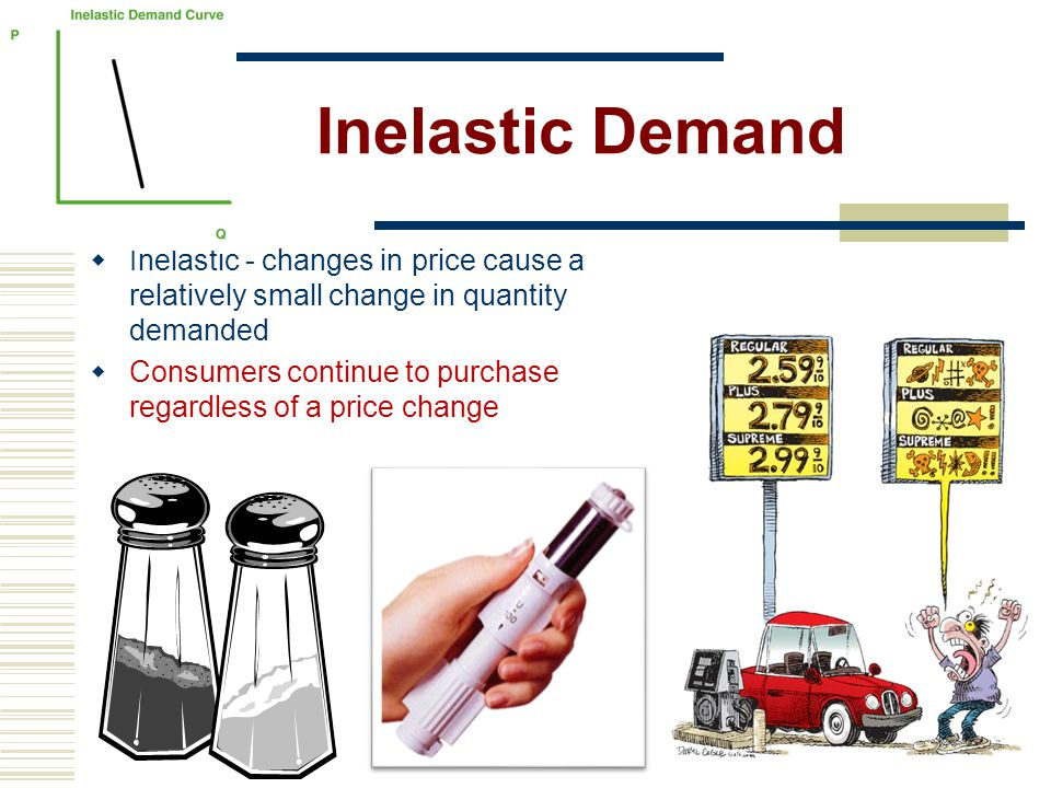 Inelastic Demand Inelastic - changes in price cause a relatively small change in quantity demanded.