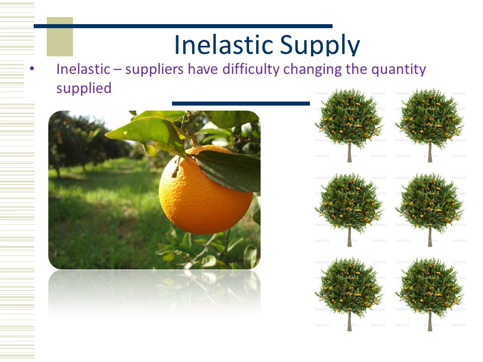 Inelastic Supply Inelastic – suppliers have difficulty changing the quantity supplied