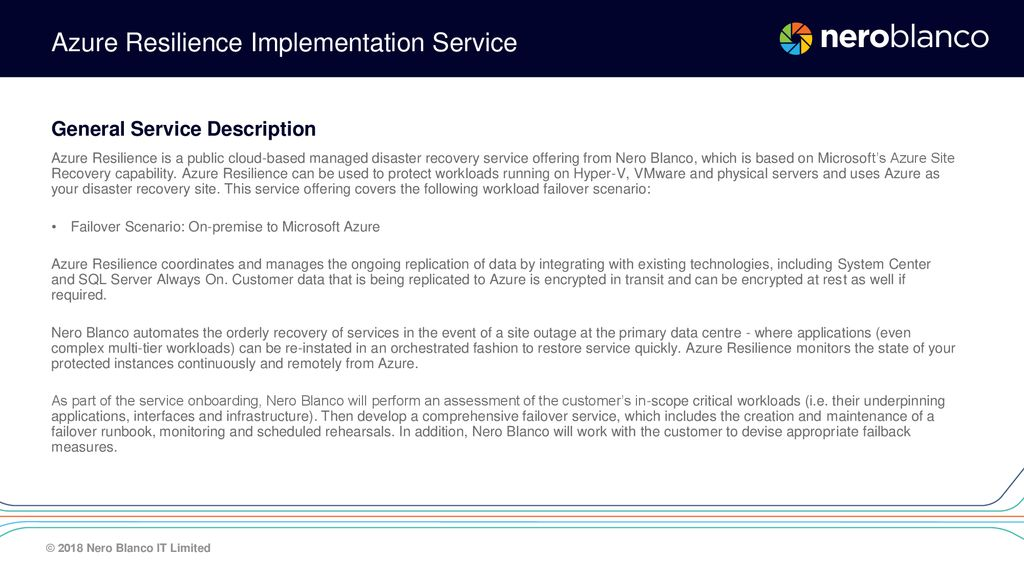 Nero Blanco Service Offering – Disaster Recovery as a