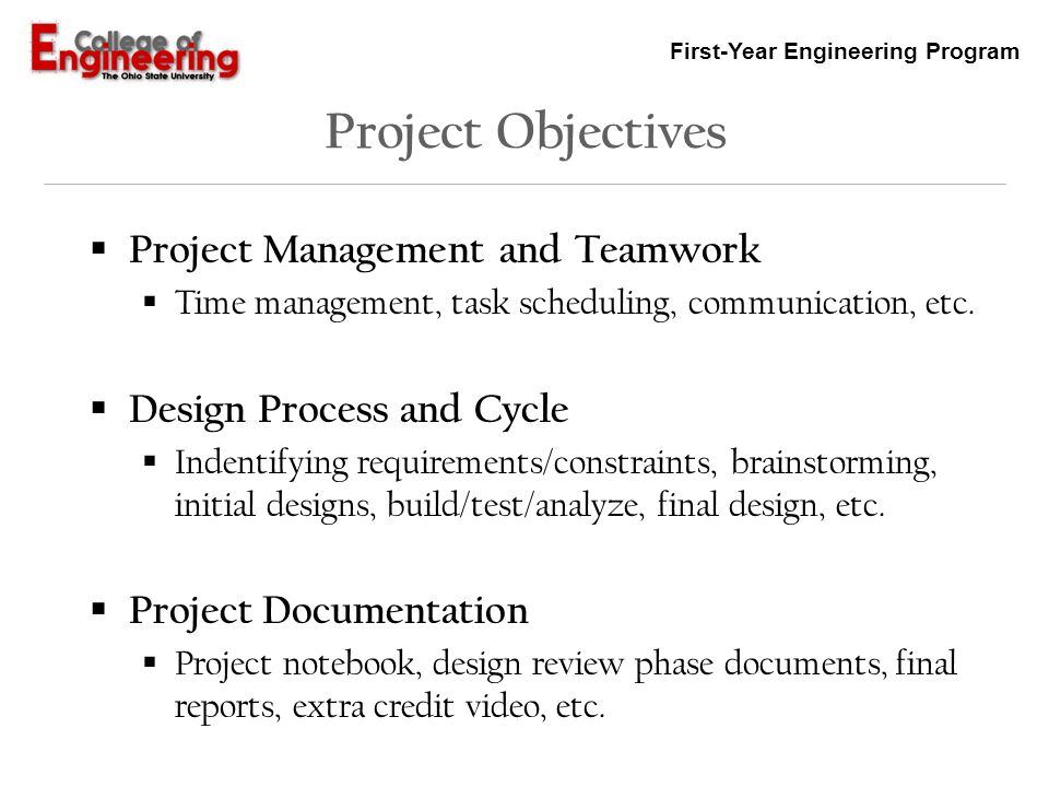 Project Objectives Project Management and Teamwork