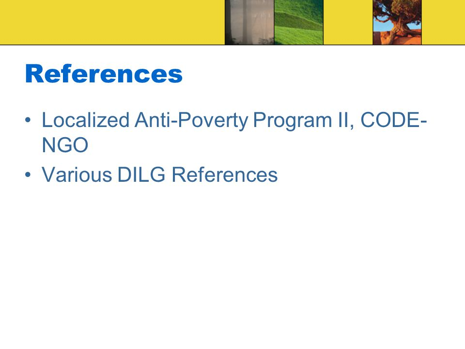 References Localized Anti-Poverty Program II, CODE-NGO
