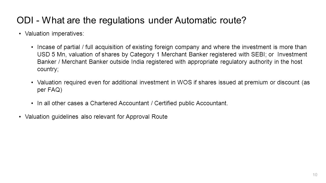 ODI - What are the regulations under Automatic route