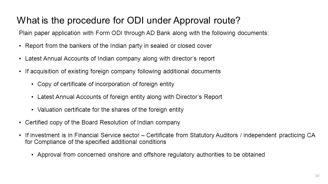 What is the procedure for ODI under Approval route