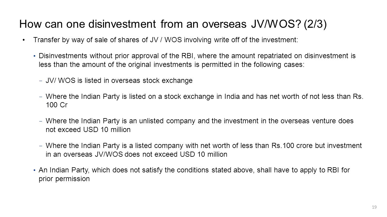 How can one disinvestment from an overseas JV/WOS (2/3)