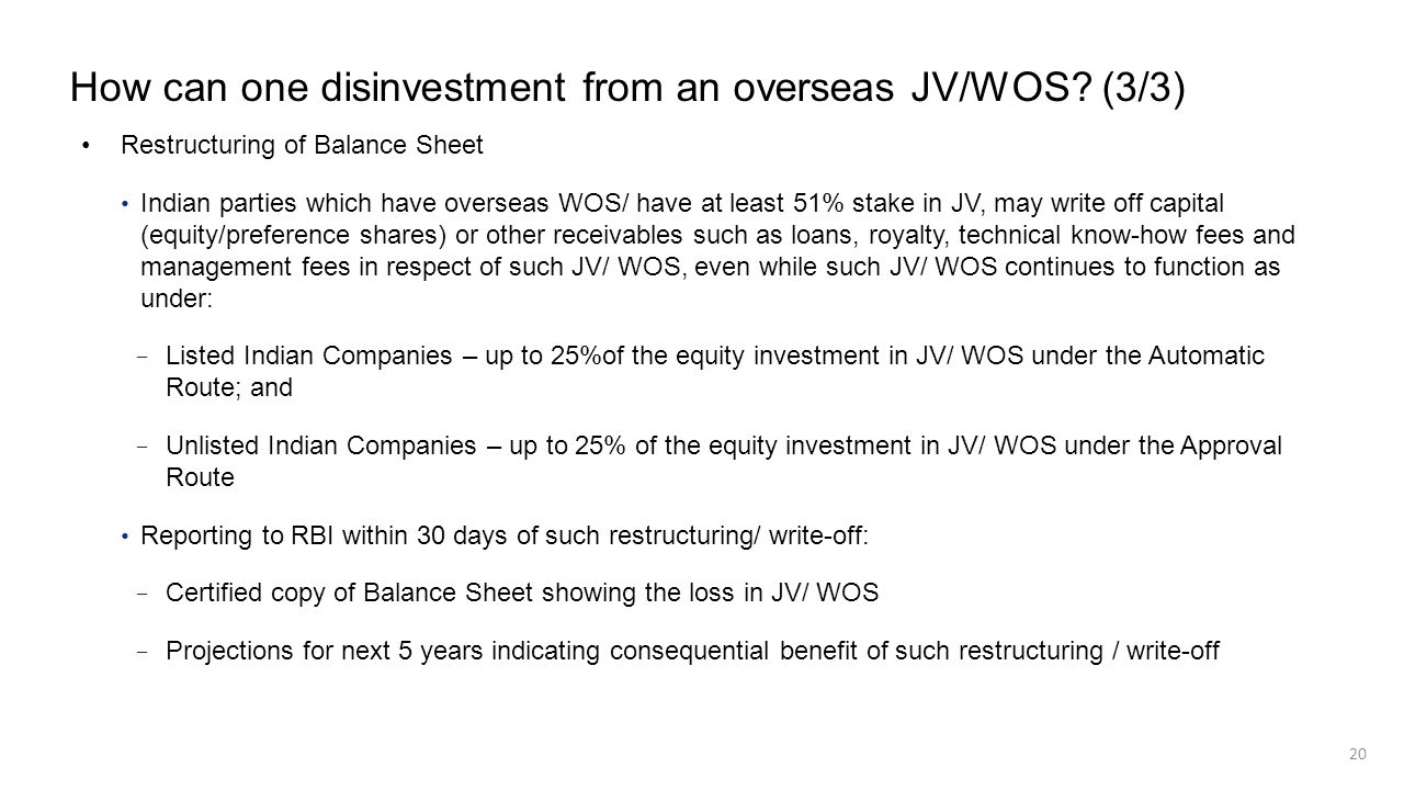 How can one disinvestment from an overseas JV/WOS (3/3)