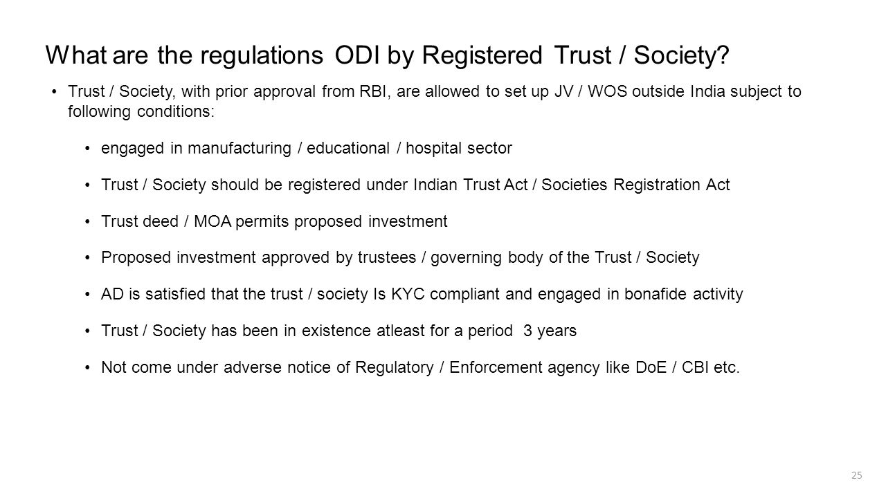 What are the regulations ODI by Registered Trust / Society