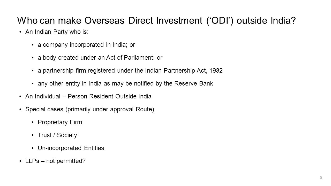 Who can make Overseas Direct Investment ('ODI') outside India