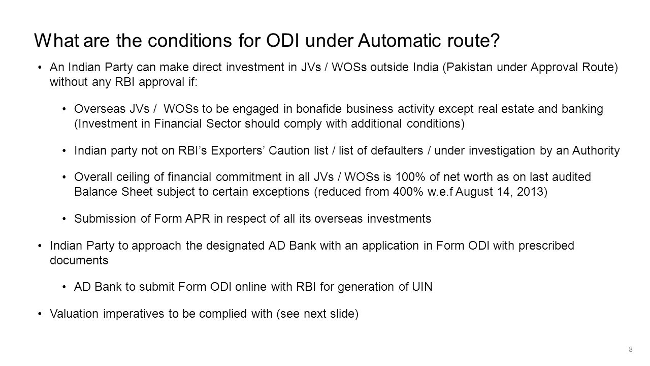 What are the conditions for ODI under Automatic route