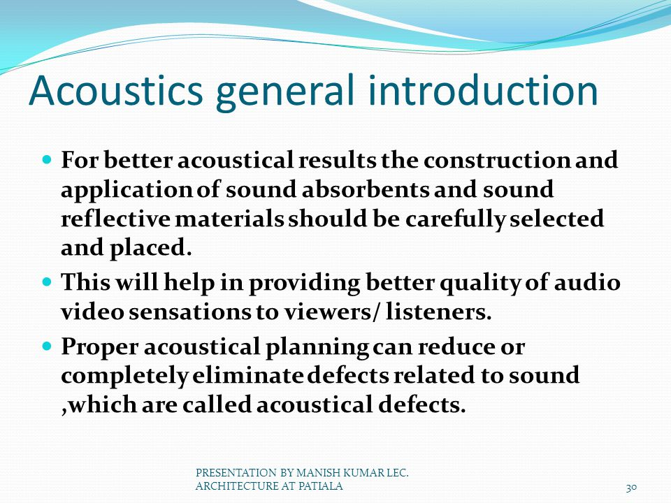 Acoustics general introduction