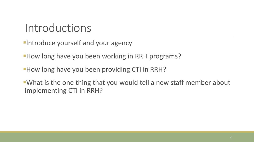 Critical Time Intervention for Rapid Re-housing Programs (CTI 4 RRH