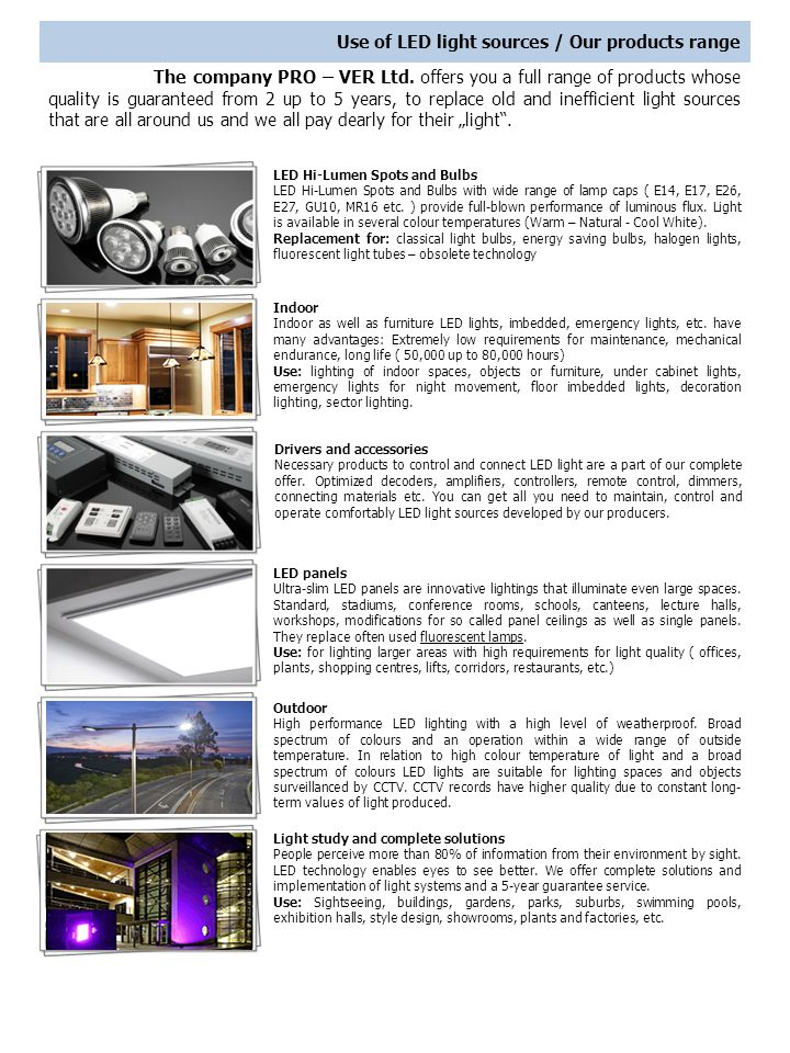 Use of LED light sources / Our products range