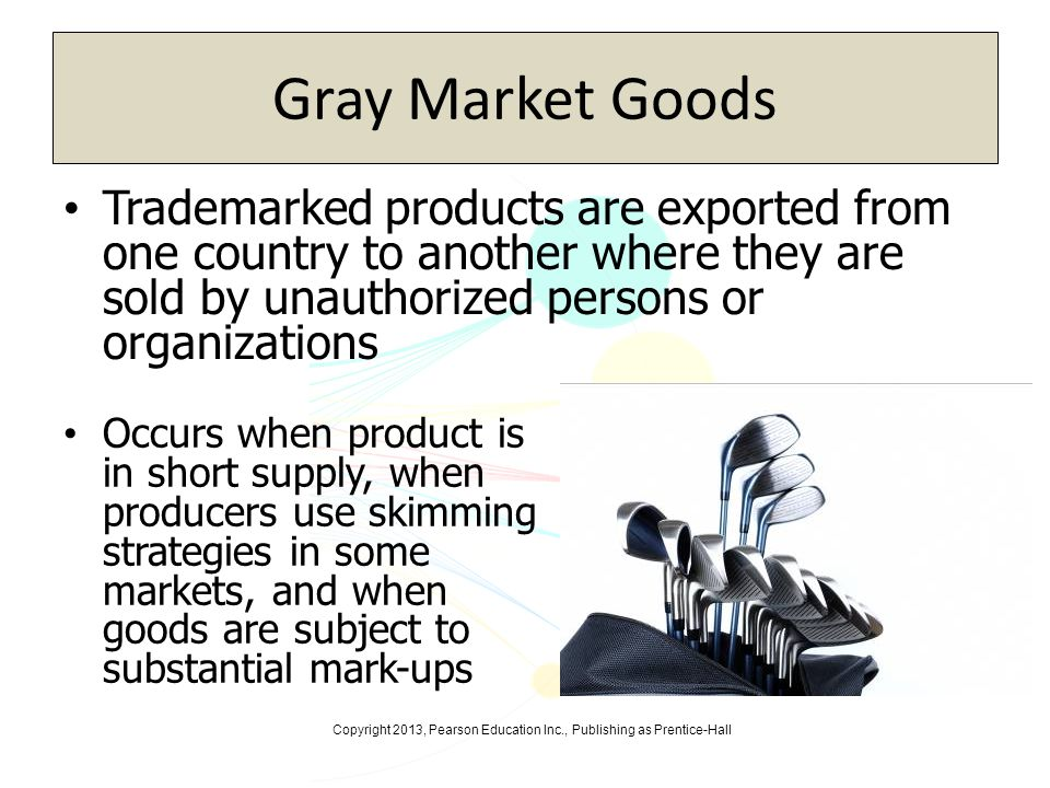 Gray Market Goods Trademarked products are exported from one country to another where they are sold by unauthorized persons or organizations.