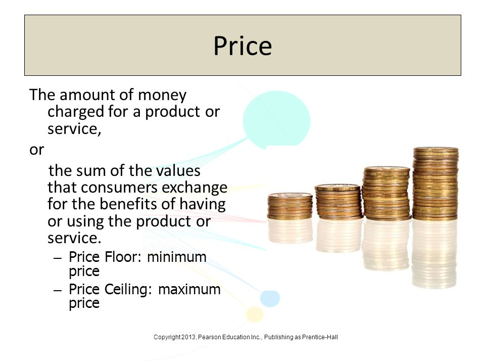 Price The amount of money charged for a product or service, or