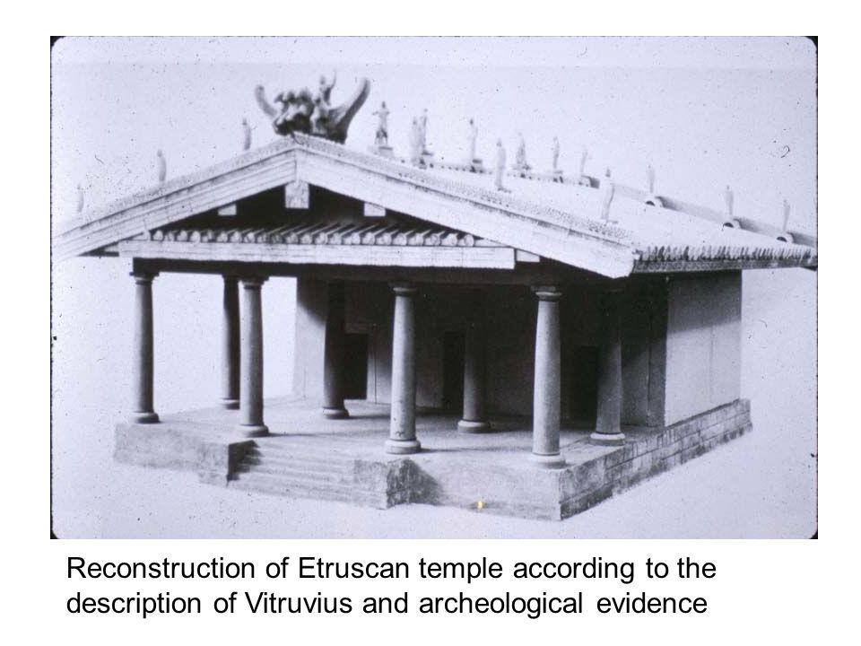 Reconstruction of Etruscan temple according to the description of Vitruvius and archeological evidence