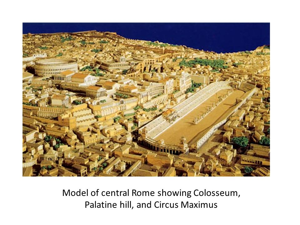 Model of central Rome showing Colosseum,