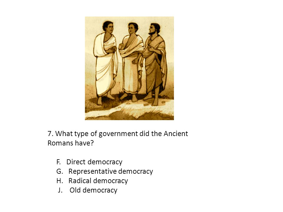 7. What type of government did the Ancient Romans have