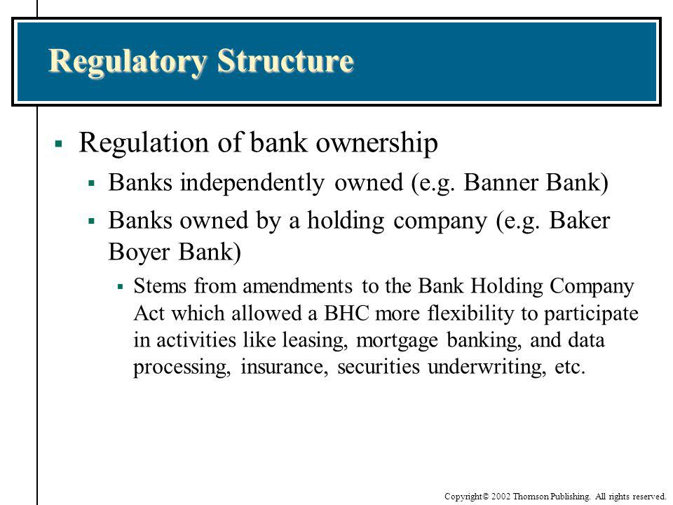 Regulatory Structure Regulation of bank ownership