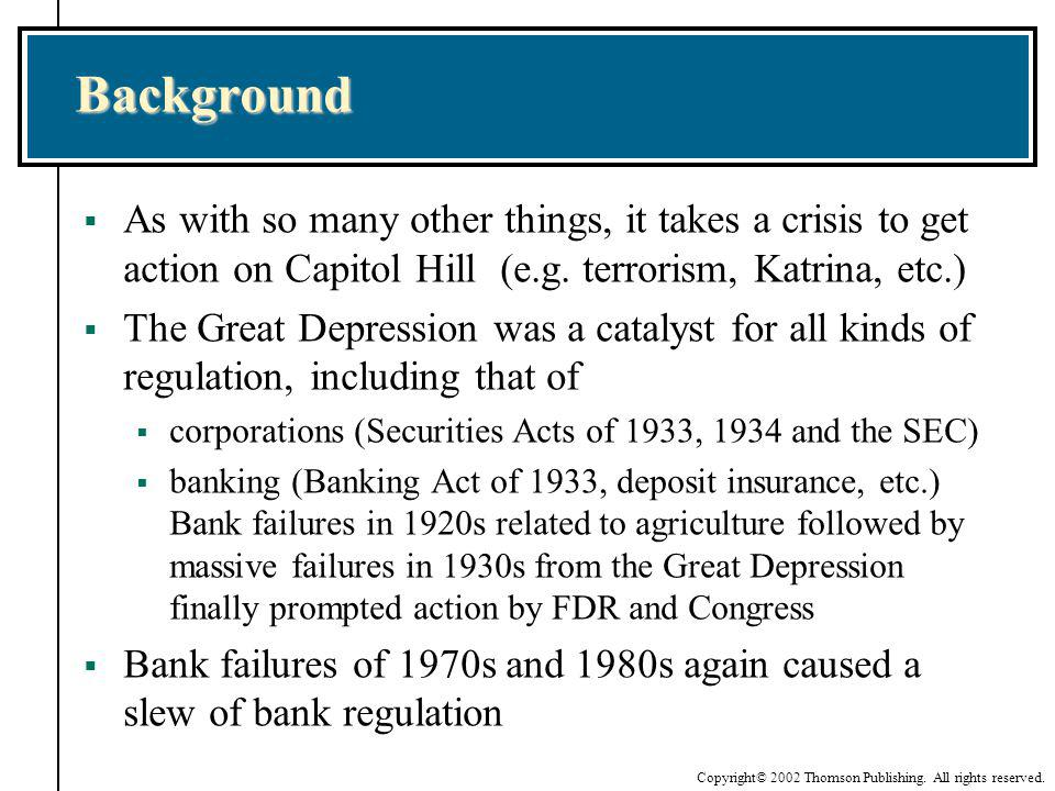 Background As with so many other things, it takes a crisis to get action on Capitol Hill (e.g. terrorism, Katrina, etc.)