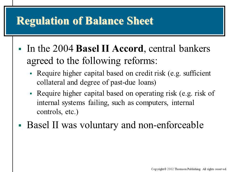 Regulation of Balance Sheet