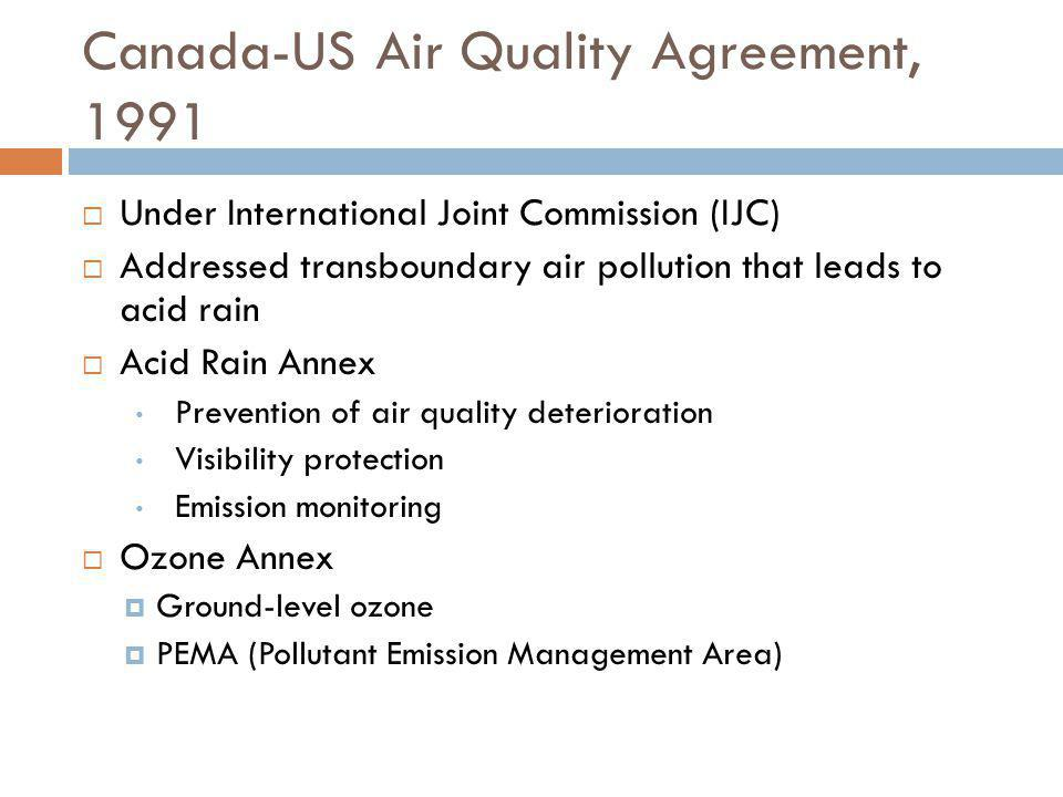 Canada-US Air Quality Agreement, 1991
