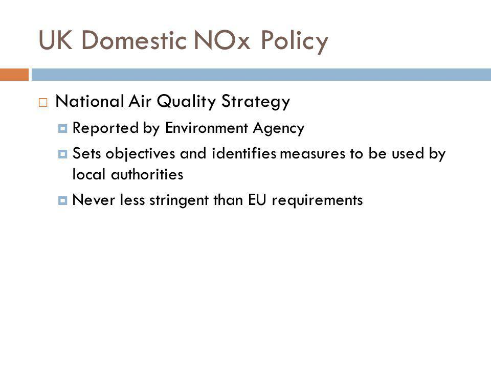 UK Domestic NOx Policy National Air Quality Strategy