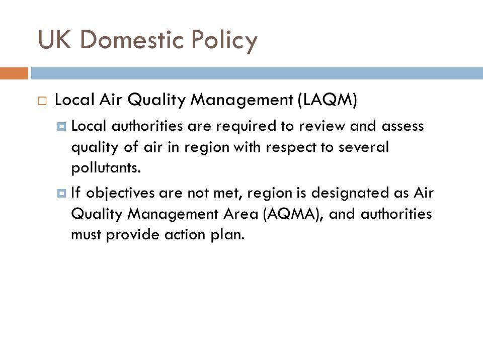 UK Domestic Policy Local Air Quality Management (LAQM)