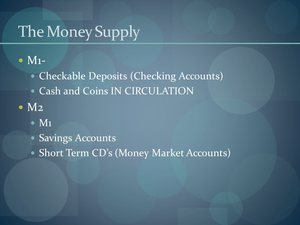 The Money Supply M1- M2 Checkable Deposits (Checking Accounts)