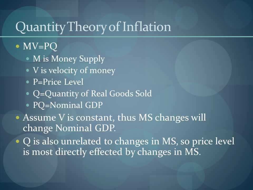 Quantity Theory of Inflation