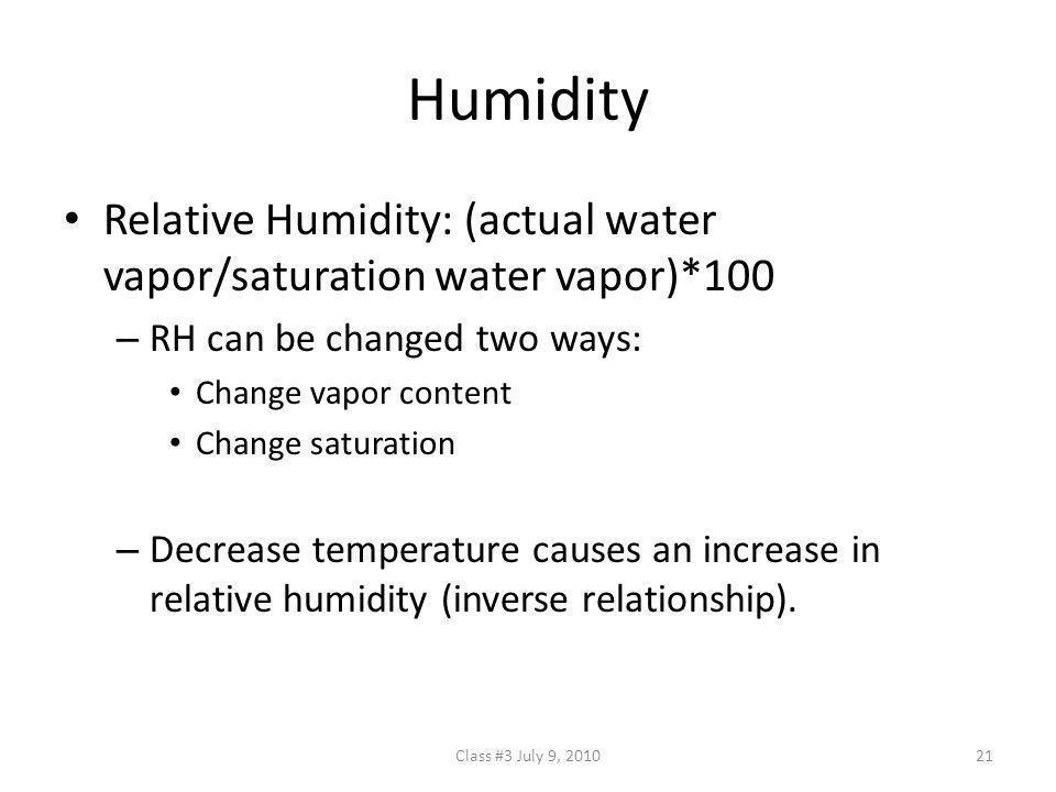 Humidity Relative Humidity: (actual water vapor/saturation water vapor)*100. RH can be changed two ways: