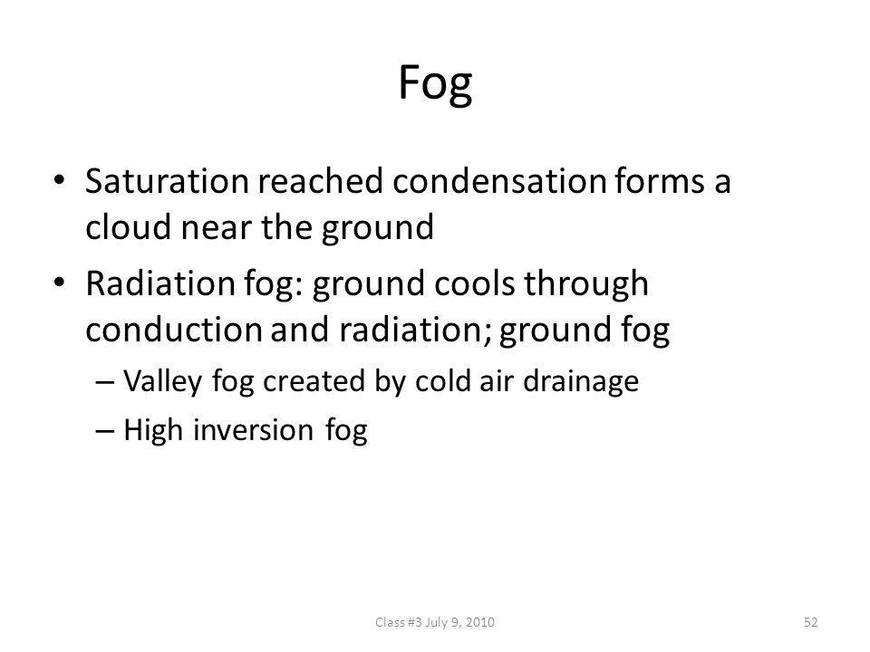 Fog Saturation reached condensation forms a cloud near the ground