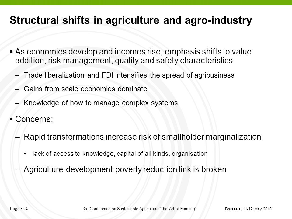 Structural shifts in agriculture and agro-industry