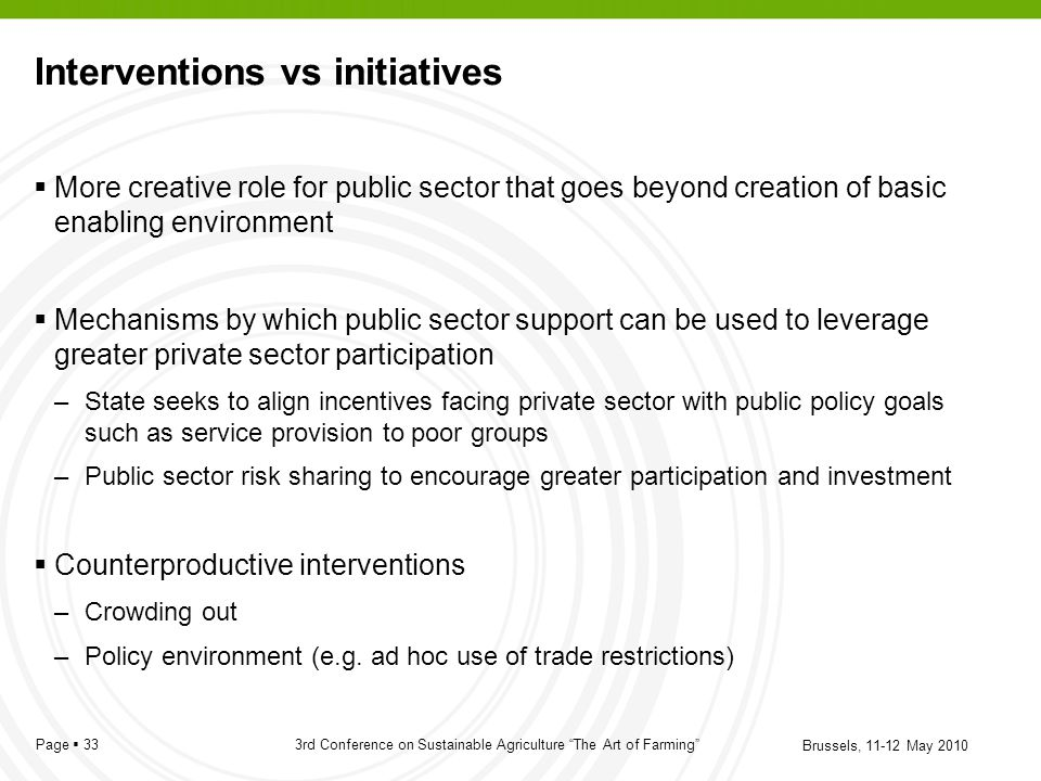 Interventions vs initiatives