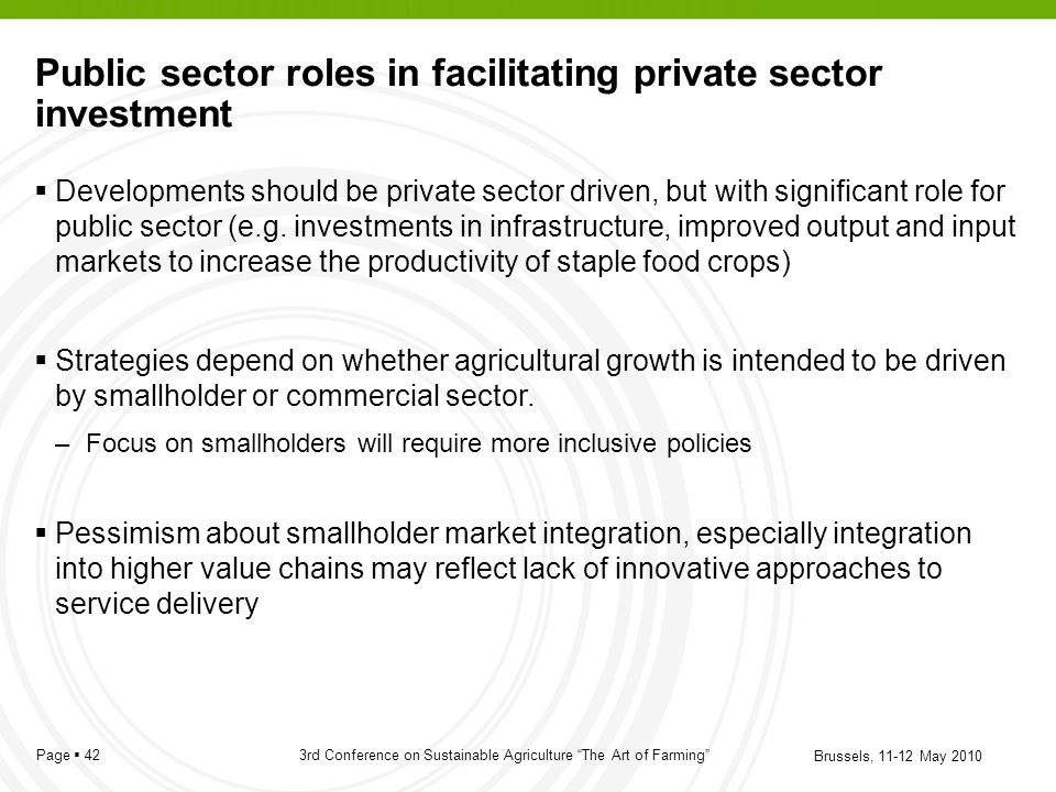 Public sector roles in facilitating private sector investment
