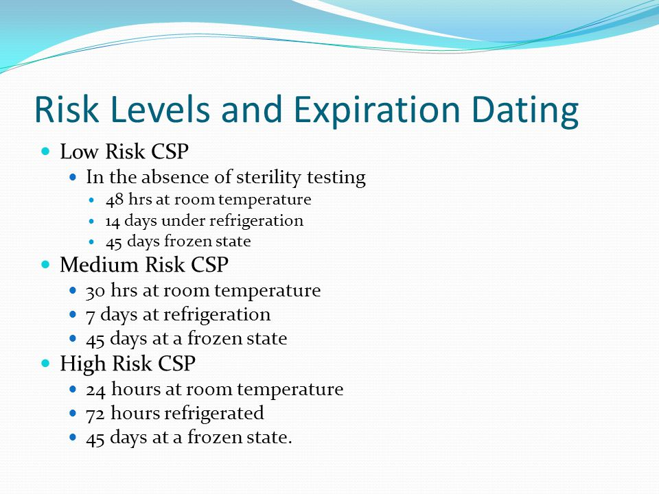 Risk Levels and Expiration Dating