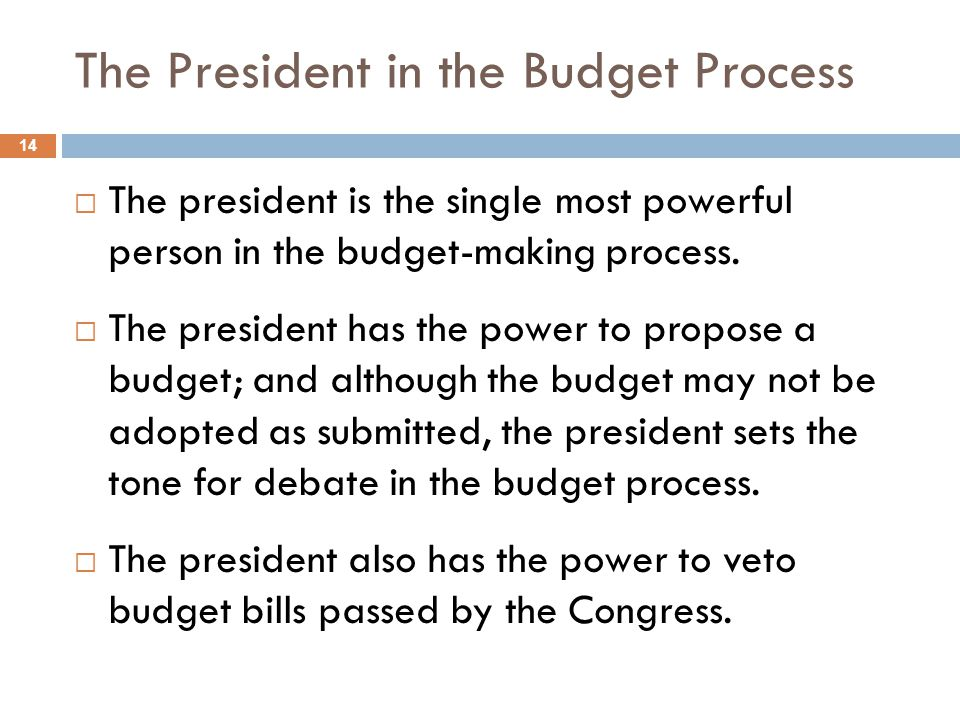 The President in the Budget Process