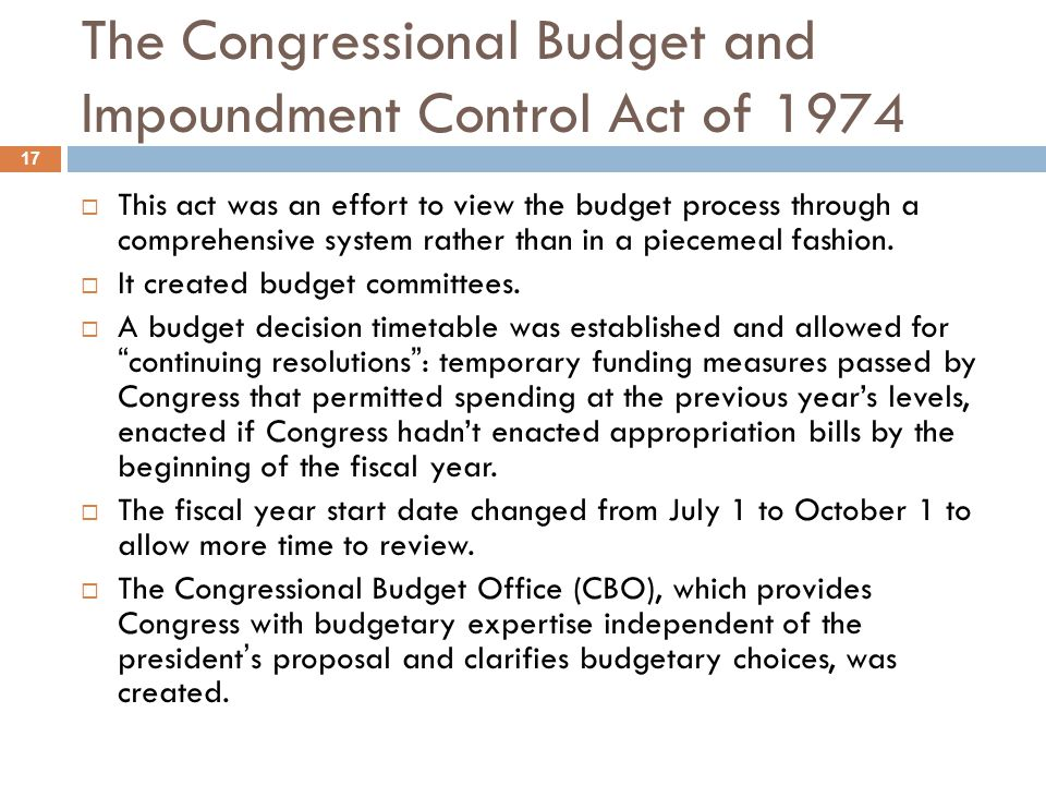 The Congressional Budget and Impoundment Control Act of 1974