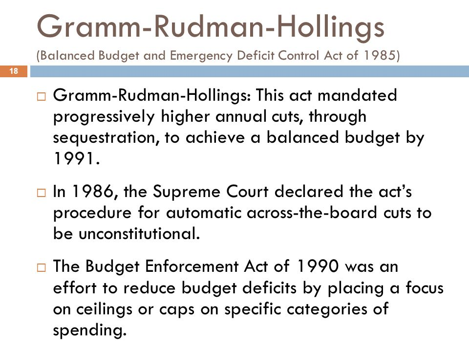 Gramm-Rudman-Hollings (Balanced Budget and Emergency Deficit Control Act of 1985)