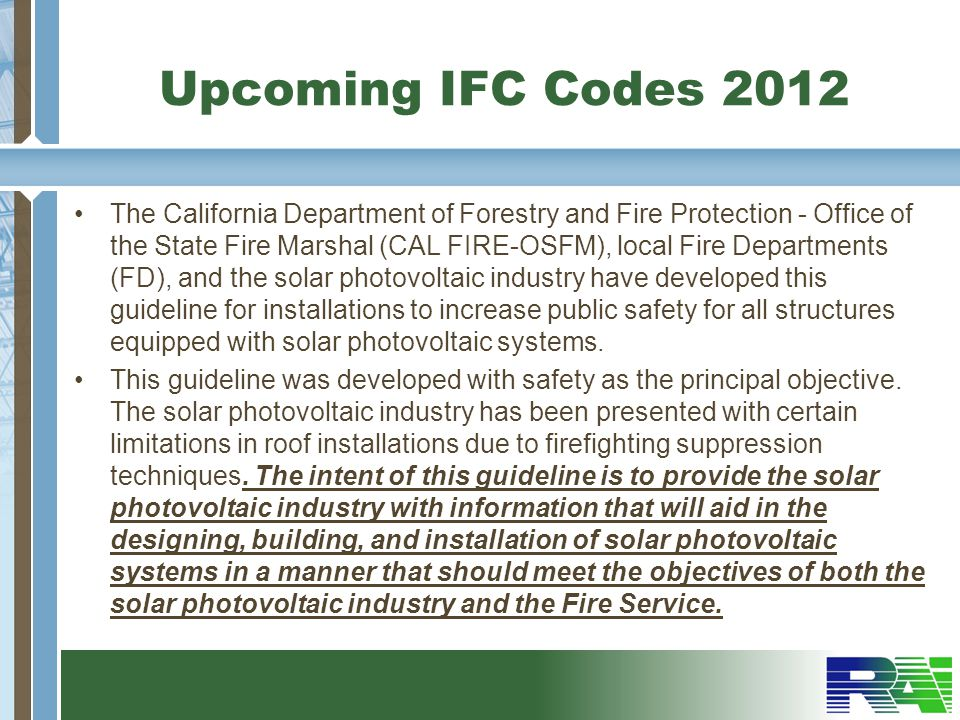 Upcoming IFC Codes 2012
