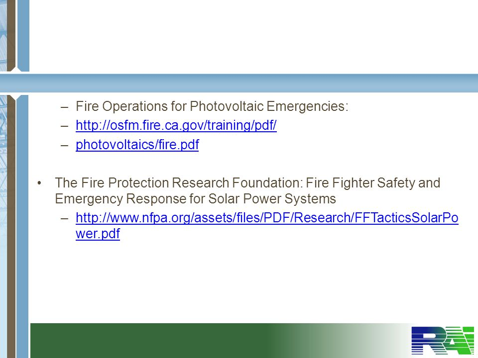 Fire Operations for Photovoltaic Emergencies: